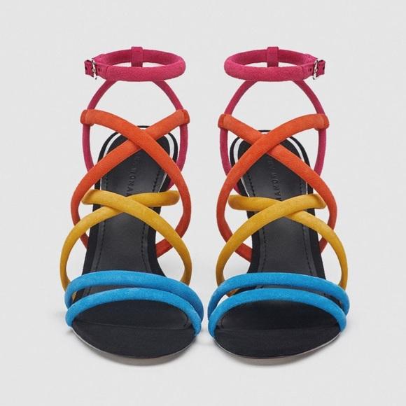 buy online release info on get online Zara Shoes | Multi Color Strappy Heel | Poshmark